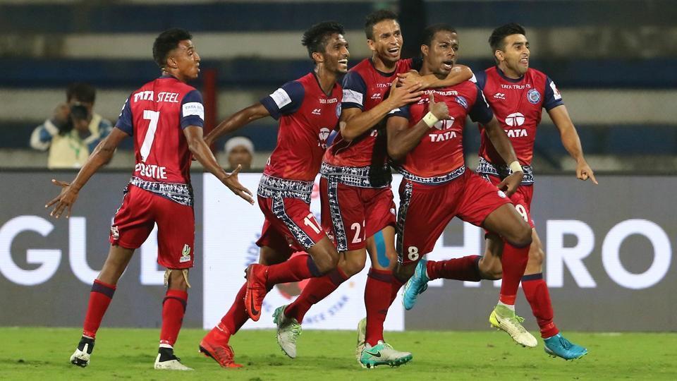 Trindade of Jamshedpur FC celebrates scoring the winning goal in the Indian Super League vs Bengaluru FC at the Sree Kanteerava Stadium, Bangalore on December 21.