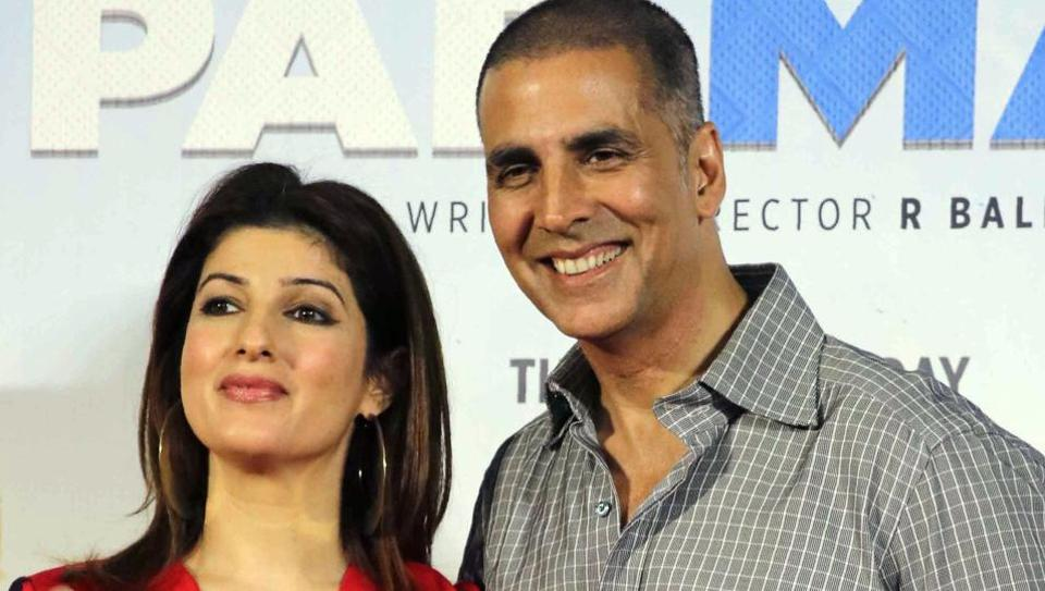 Indian Bollywood actor Akshay Kumar (R) and actress Twinkle Khanna pose for a photograph during a promotional event for the forthcoming Hindi film Padman written and directed by R Balki in Mumbai.