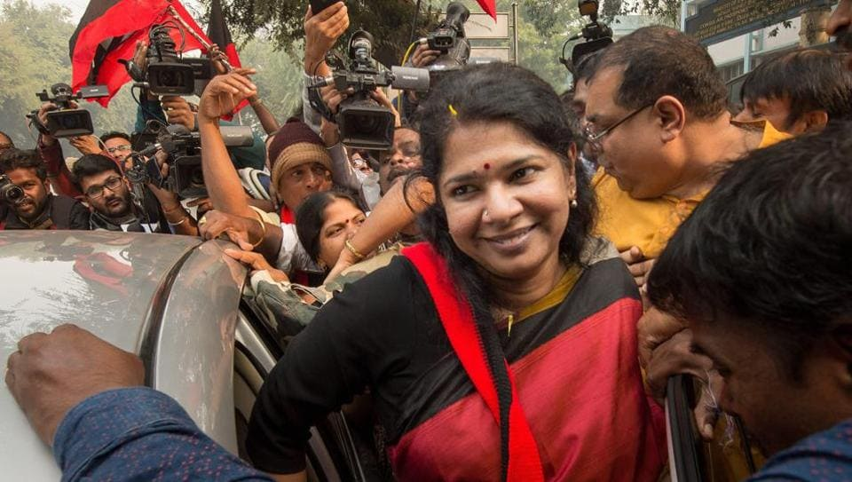 DMK MP Kanimozhi was acquitted by a special court in the 2G scam case, in New Delhi.