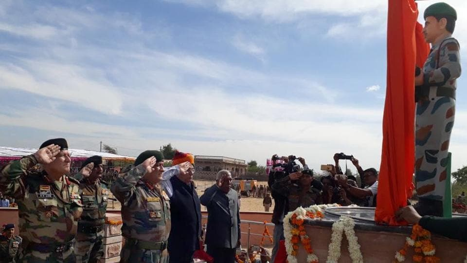 Army chief Gen Bipin Rawat unveils the memorial of martyr Dharma Ram at his village in Rajasthan.