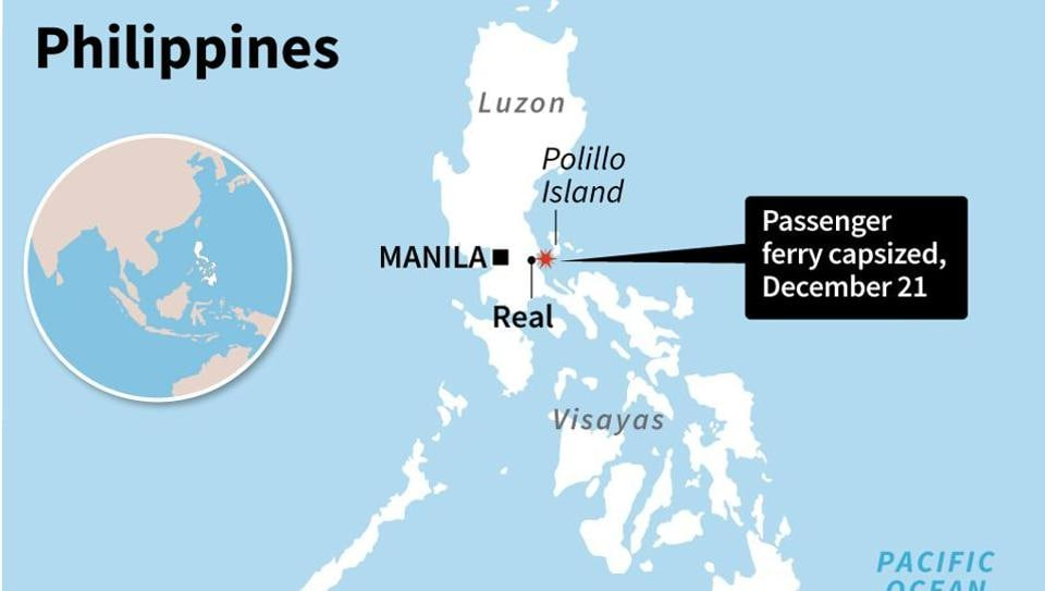 Map locating the area where a ferry capsized in the Philippines.