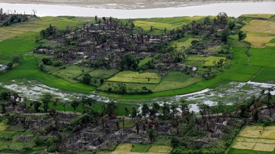 An aerial view of a burned Rohingya village near Maungdaw, north of Rakhine state in Myanmar.