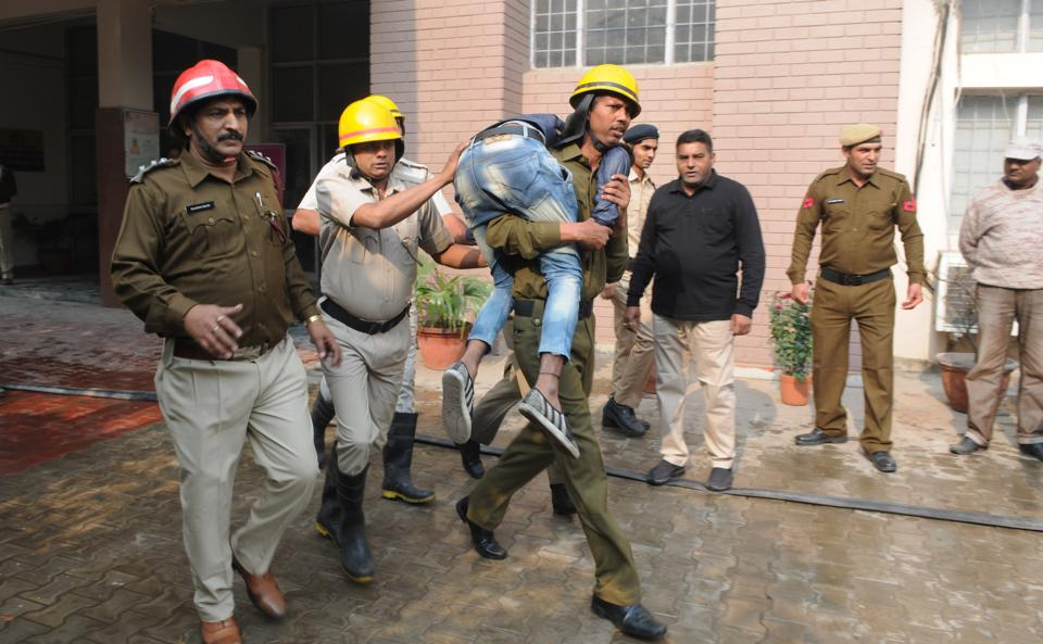 As part of mock drill to prepare for natural disasters, an earthquake-like situation was simulated at seven locations.