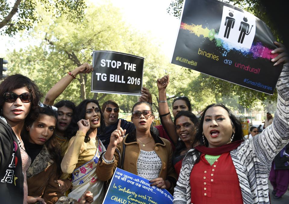 Members from transgender community protesting against the Transgender Persons (Protection of Rights) Bill, New Delhi, December 17, 2017