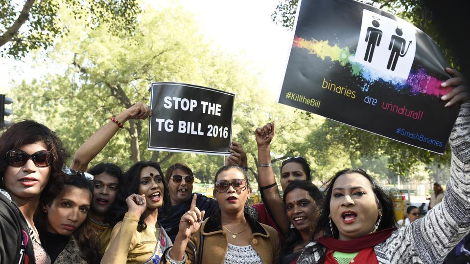 A protest in New Delhi against the trans bill at Jantar Mantar in New Delhi on Sunday, December 17