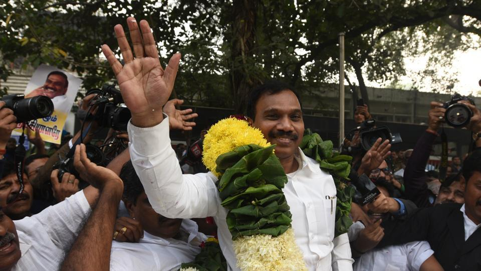 DMK leader and former Union telecom minister A Raja with his supporters in New Delhi after being acquitted in the 2G spectrum case on Thursday.