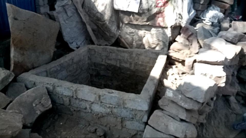 Picture of toilet construction which was left incomplete near residence of an old couple in slum area of Mandideep about one month ago
