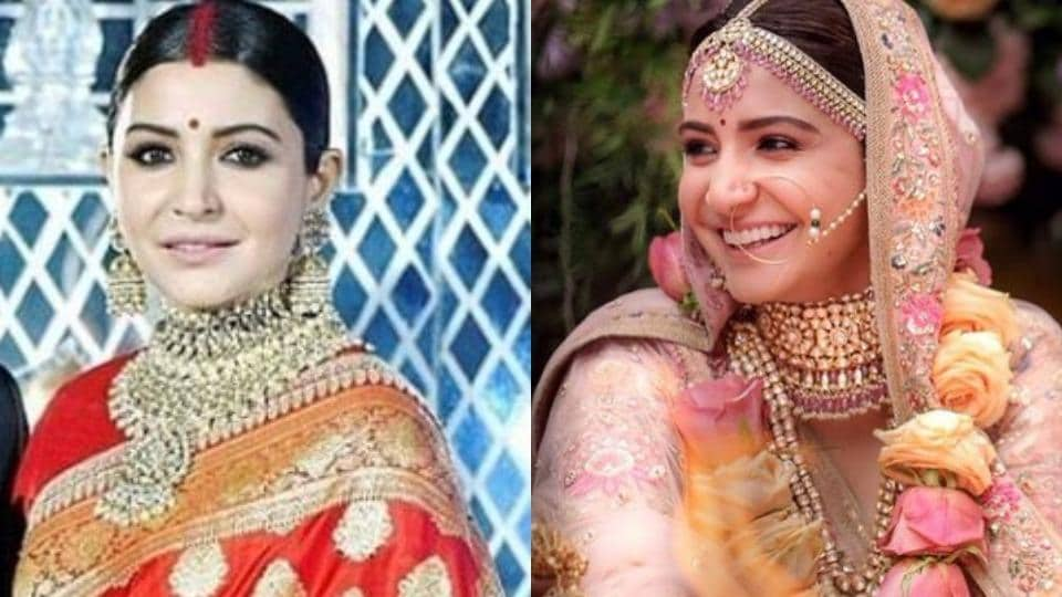 Anushka Sharma S Red Reception Sari Vs Her Pink Wedding Lehenga How