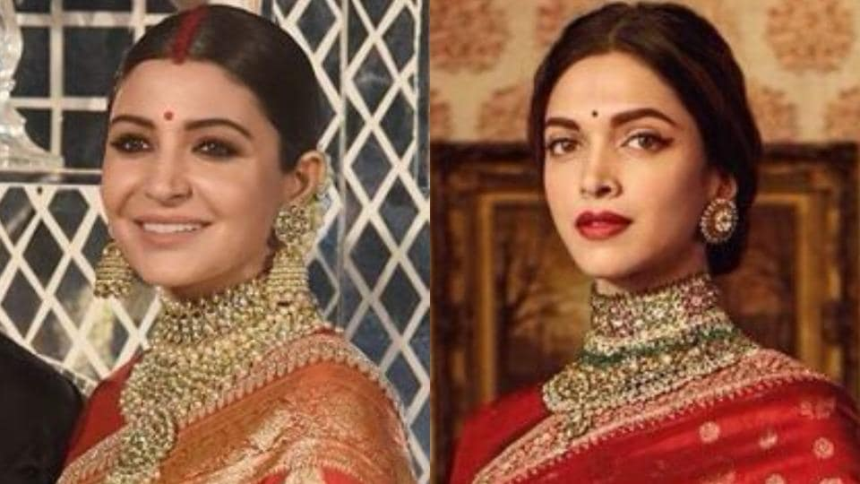 Actor Anushka Sharma wore a red sari by designer Sabyasachi Mukherjee for her wedding reception on Thursday. Actor Deepika Padukone too has a thing for the designer and has opted to wear his designs on many occasions.