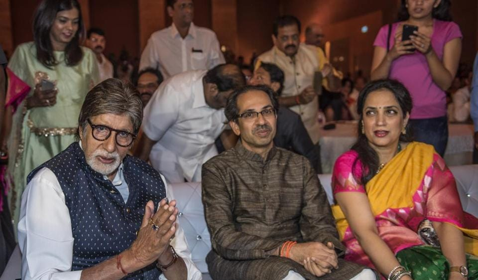 Actor Amitabh Bachchan with Uddhav and Rashmi Thackeray at the launch of the biopic on Thackeray on Thursday evening.