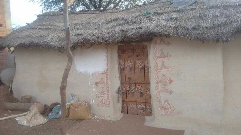 A tribal home at village Vinega in Shivpuri district where a message 'Mera parivar gareeb hai' was written about a couple of months back. The message was removed after a law student's complaint to NHRC and a Hindustan Times report on this.