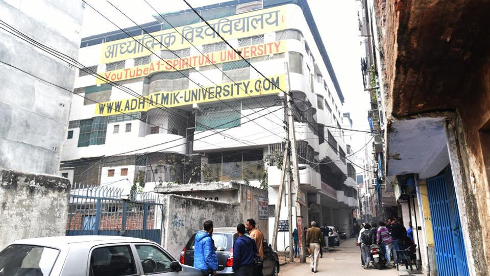 Police officials visited the campus of Virendra Dixit's ashram for search operations at Vijay Vihar in New Delhi on Wednesday.