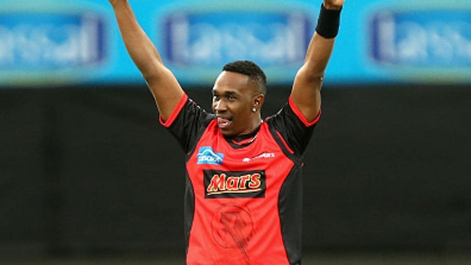 Dwayne Bravo of the Melbourne Renegades celebrates the wicket of Alex Doolan of the Hobart Hurricanes during the Big Bash League on Thursday.