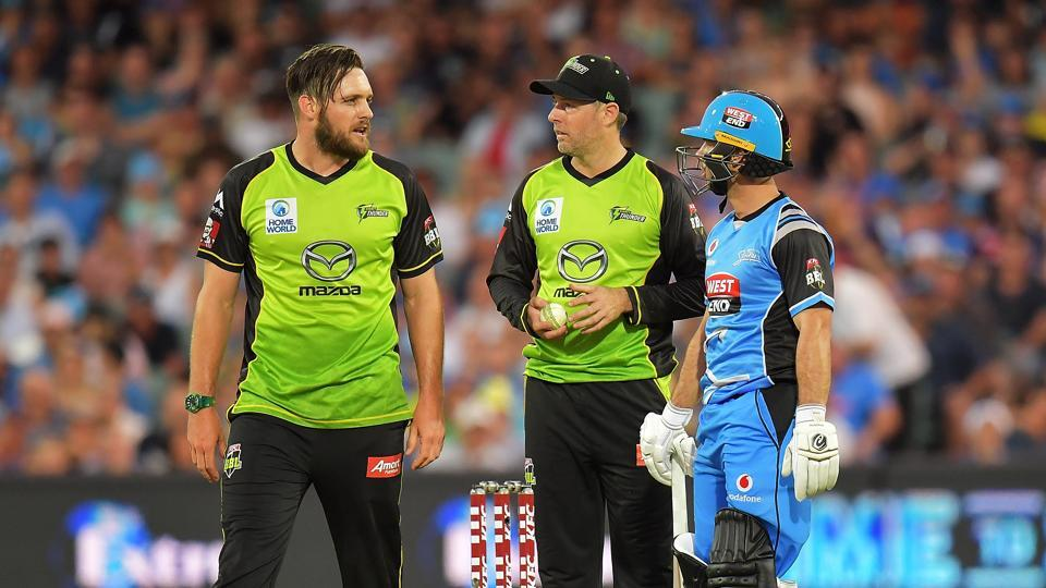 Mitchell McClenaghan collided with the non-striker as he attempted a catch and instead appealed for an obstructing the field during the Big Bash League clash between Sydney Thunder and Adelaide Strikers.