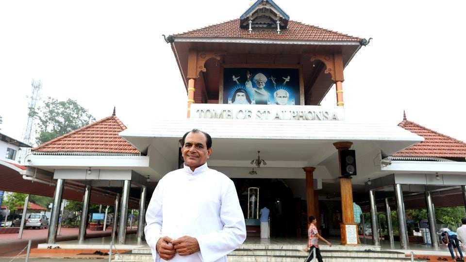 """For the state, it is the fruit of faith and sacrifice. Our saints are symbols of hope and sacrifice. They lead us to light always. In Kerala, Christian values and traditions blended perfectly so it has every right to become the land of saints,"" said Syro-Malabar church spokesman Father Mathew Chandrankunnel who also manages the St. Alphonsa shrine in Bharaninganam. (Vivek Nair / HT Photo)"