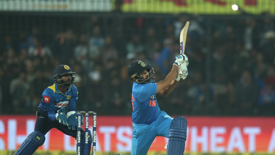 Rohit tore into the Sri Lankan bowling and he raced into the ninties by hammering Thisaea Perera for four consecutive sixes. (BCCI)