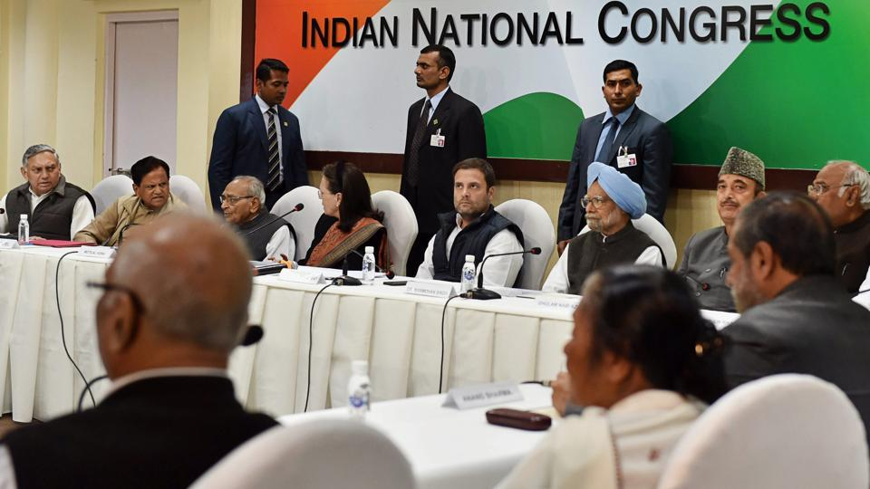 Congress president Rahul Gandhi chairs a meeting of the Congress Working Committee (CWC) in New Delhi on Friday.