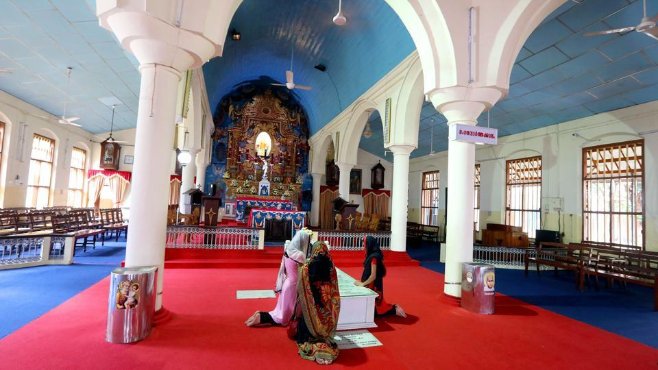 Women pray at the tomb of St. Kuriakose at Mannanam. India has only six Christian saints, and the last five have come in the past decade. The first saint was a Eurasian, Gonsalo Garcia in 1862, but the next saint took 146 years -- Alphonsa was canonised in 2008. In 2014, Kuriakose Elias Chavara and Euprasia were canonised. In 2016, Mother Teresa was declared a saint. (Vivek Nair / HT Photo)