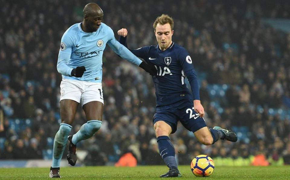 Christian Eriksen (R) has lauded Manchester City, saying other clubs have a lot of catch-up to do.