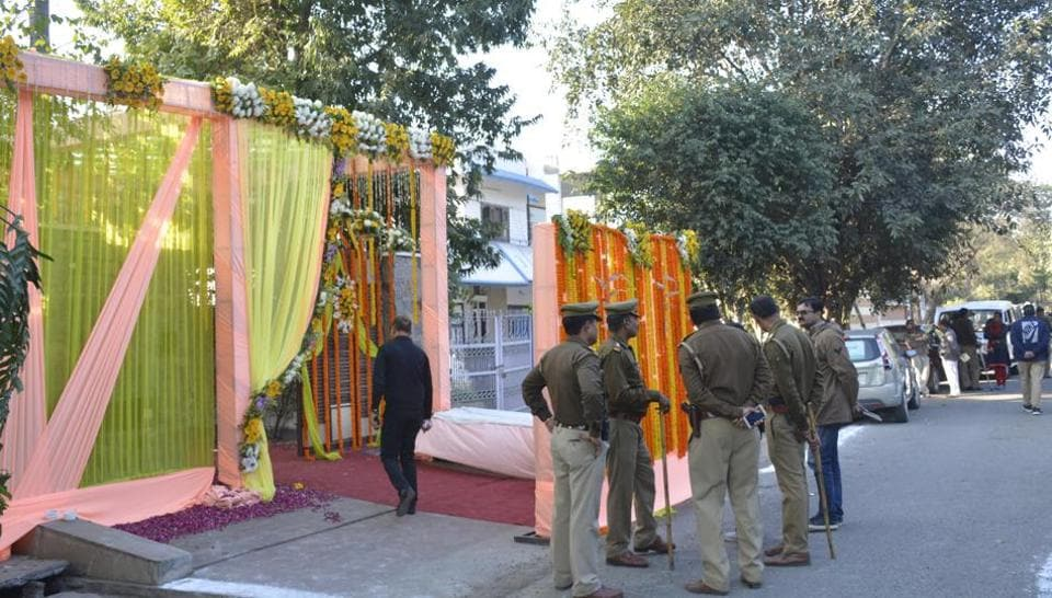 Police cordoned the bride's house in Raj Nagar, Ghaziabad, on Friday as protesters blocked traffic at a distance.