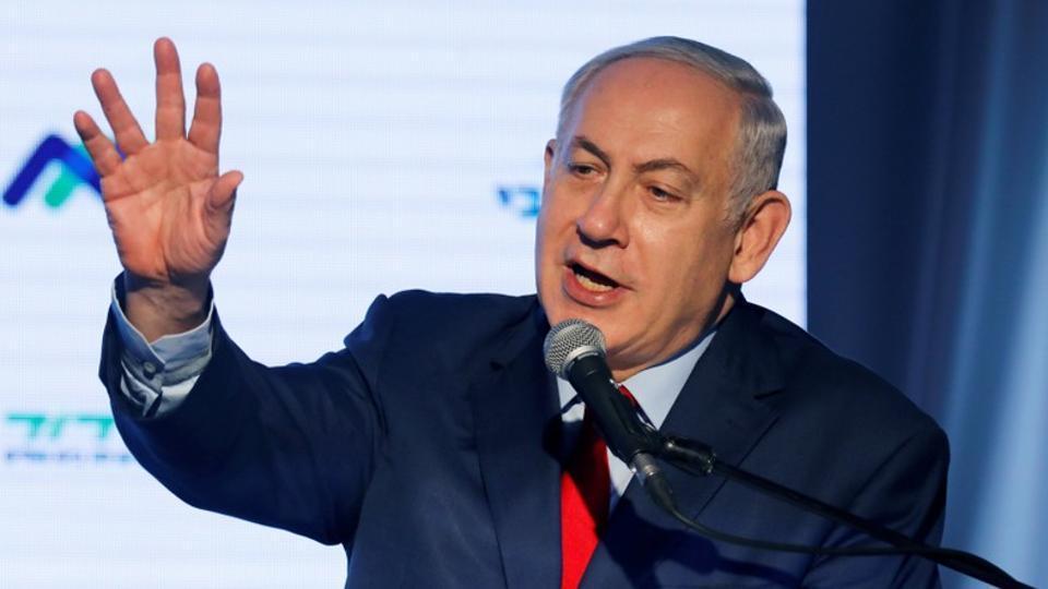 Israeli Prime Minister Benjamin Netanyahu speaks during a dedication ceremony of the