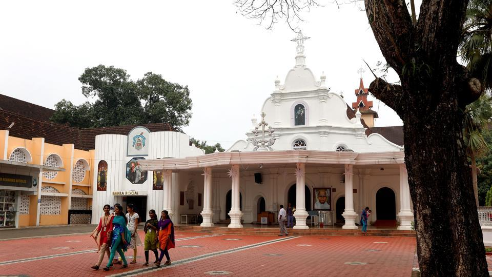 St. Joseph's Church in Mannanam, Kerala houses the tomb of Saint Kuriakose Elias Chavara and the Mother House of Congregation of Carmelites of Mary Immaculate. With its saints heralded as symbols of hope and sacrifice, the church of Kerala now plans to connect the villages of three figures — St. Alphonsa's Bharaninganam, St. Kuriakose Elias Chavara's Manannam and St. Euprasia Eluvathingal's Ollur – all in a 150-km radius, to make up a holy tourism circuit in the state. (Vivek Nair / HT Photo)