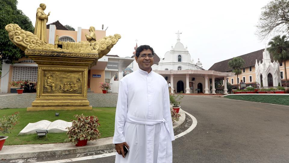 """Sainthood is a long process. Some miracles are also associated with it. In earlier days, historical compilation was also tiresome,"" said Father Scria Ethirett, director of the Chavara pilgrim centre. Alphonsa and Euprasia were canonised for their ""suffering and perseverance"" and Chavara for social reforms, founding the first Sanskrit school in 1846 and encouraging women's education. (Vivek Nair / HT Photo)"