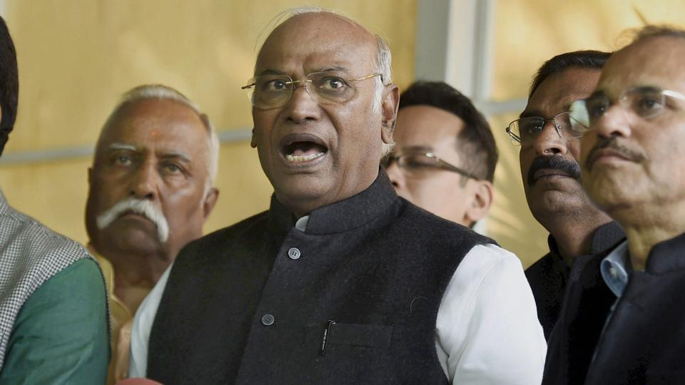 Congress MP Mallikarjun Kharge talks to media during the winter session at Parliament House.
