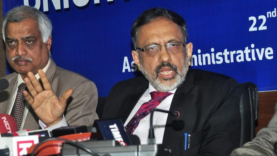 Union home secretary Rajiv Gauba addresses the media on the National Register of Citizens (NRC ) at the Assam Administrative Staff College in Guwahati on Friday.