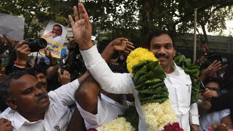 DMK Leader and former Union Telecom Minister A Raja with his supporters after the 2G Case verdict by Patiala House Court in New Delhi on Thursday. A special court hearing ruled that the prosecution has not proved the charges against the accused in any of the cases. (Sonu Mehta / HT PHOTO)