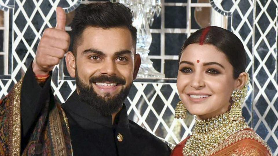 Virat Kohli (L) and Anushka Sharma held their wedding reception in New Delhi on Thursday. (PTI)