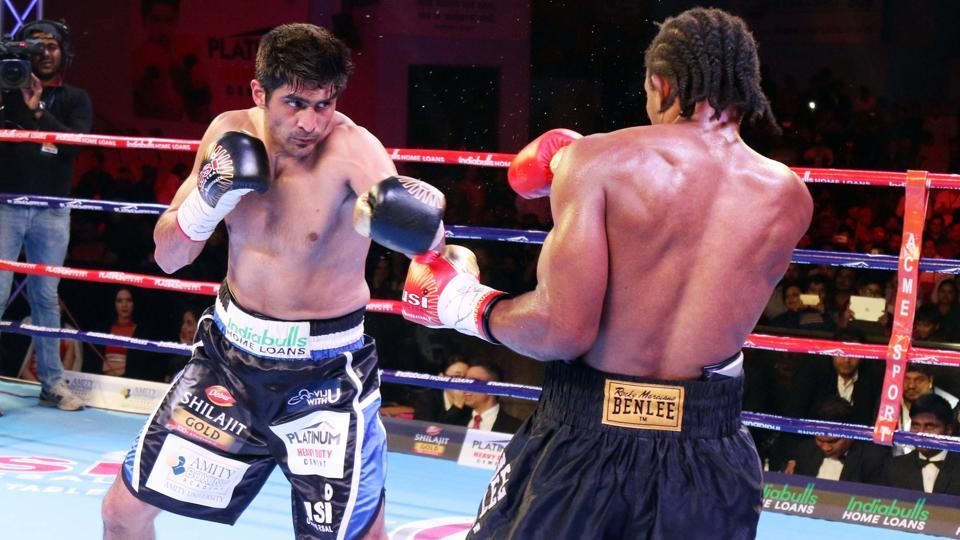 Vijender Singh defeated Ernest Amuzu at a jam-packed Sawai Mansingh Stadium in Jaipur to retain the WBO Oriental and Asia Pacific Super middleweight titles.