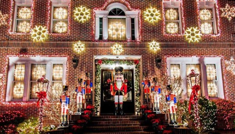 A house decorated for Christmas at Dyker Heights.