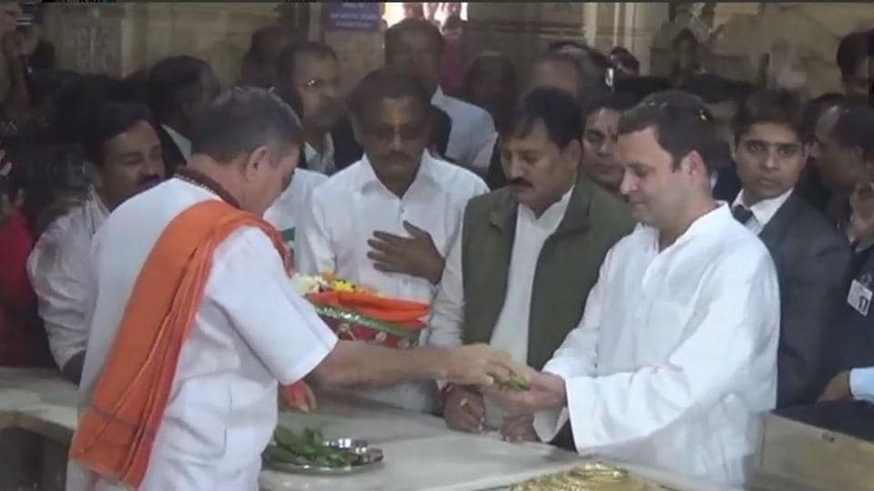 Congress president Rahul Gandhi offers prayers at the Somnath Temple in Gujarat.