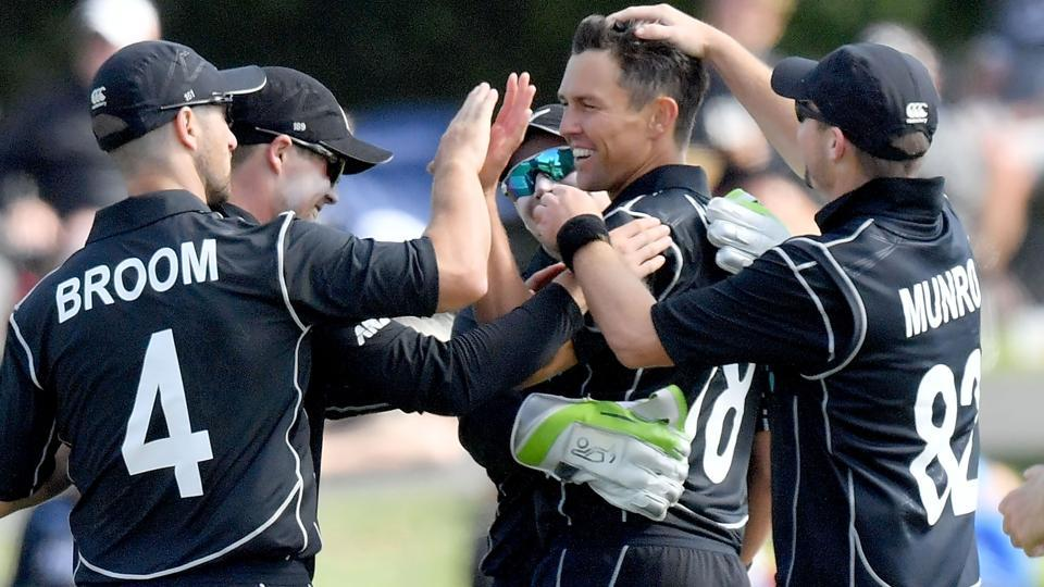 New Zealand's Trent Boult (C) celebrates after dismissing West Indies batsman Sheldon Cottrell during the second one-day international (ODI) match in Christchurch.