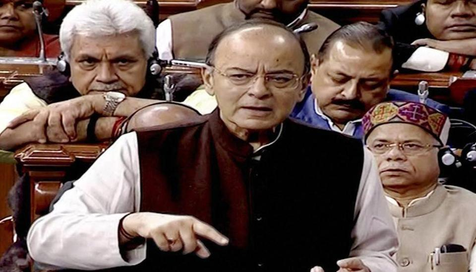 Finance minister Arun Jaitley speaks in the Lok Sabha during the winter session of Parliament.