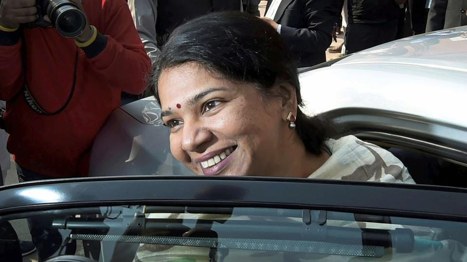 DMK MP Kanimozhi during the ongoing winter session of Parliament, in New Delhi on Friday.
