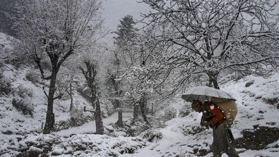 A man walks on a snow-covered road at Tangmarg in Baramulla district of north Kashmir.