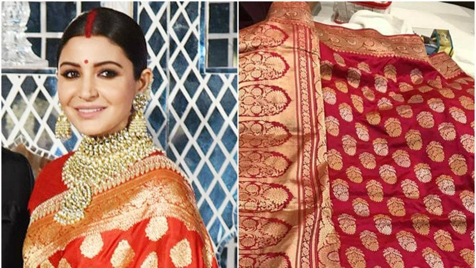 Anushka Sharma,Anushka and Virat wedding,Sabyasachi sari for Anushka