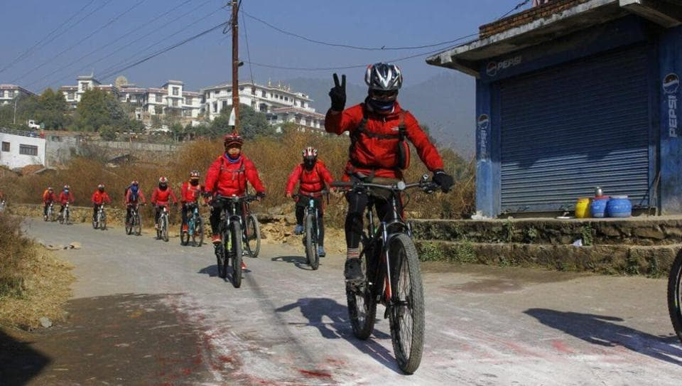The nuns will cover a 3,000-kilometre route from the hills of Nepal's capital Kathmandu, peddling through south India to Delhi and then to Darjeeling.