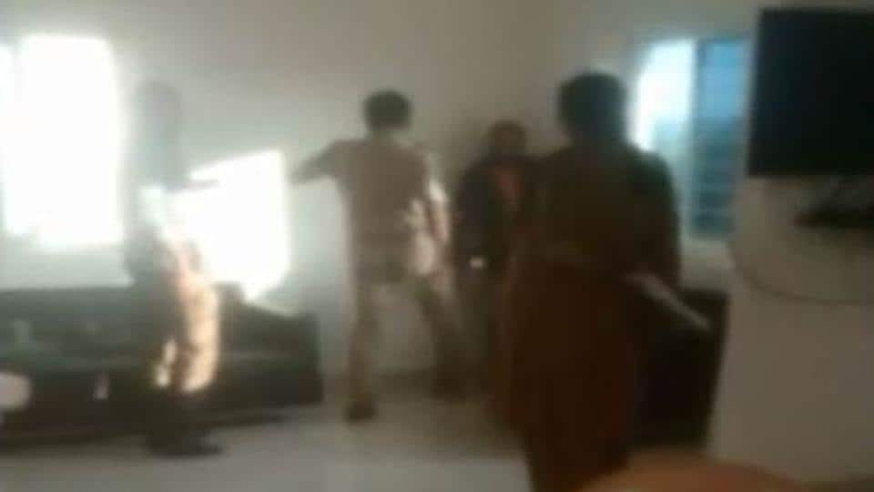 Caught on camera: Hyderabad cop kicking, slapping man