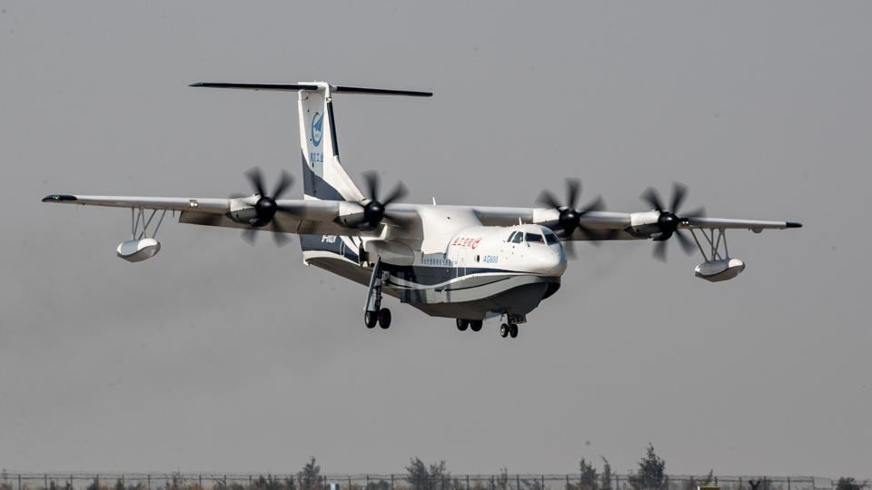 China's domestically developed AG600, the world's largest amphibious aircraft, is seen during its maiden flight in Zhuhai, Guangdong province, China, on December 24, 2017.
