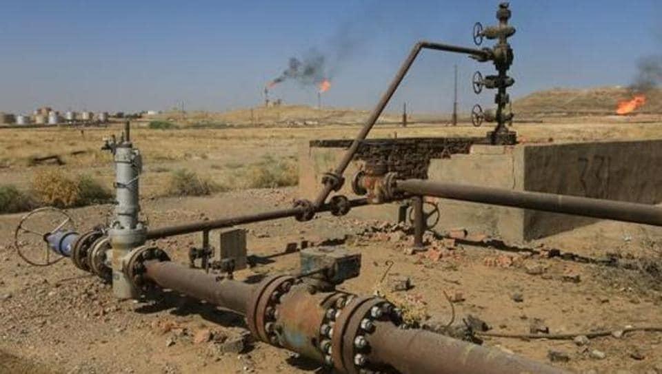 An oil field is seen in Kirkuk, Iraq.