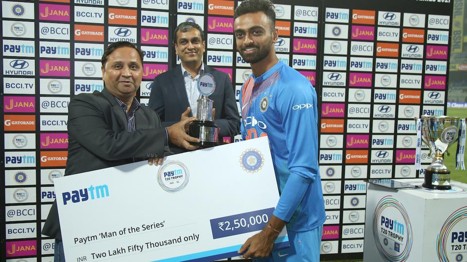 Jaydev Unadkat was named Man of the Match as well as the Man of the Series. (BCCI)