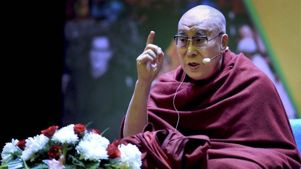 Dalai Lama speaks during the inauguration of 'The World of Children' initiative in New Delhi.