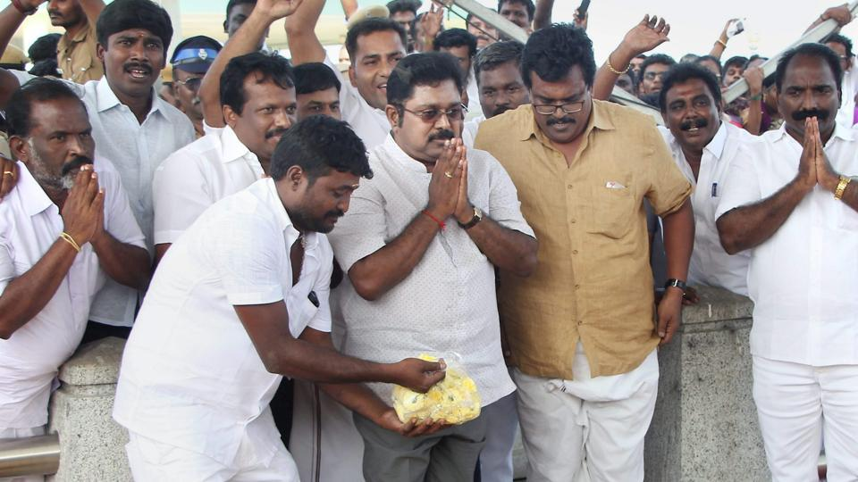 Sidelined AIADMK leader TTV Dhinakaran pays tributes at the memorial of J Jayalalithaa after winning the RK Nagar bypoll, at Marina in Chennai on Sunday.
