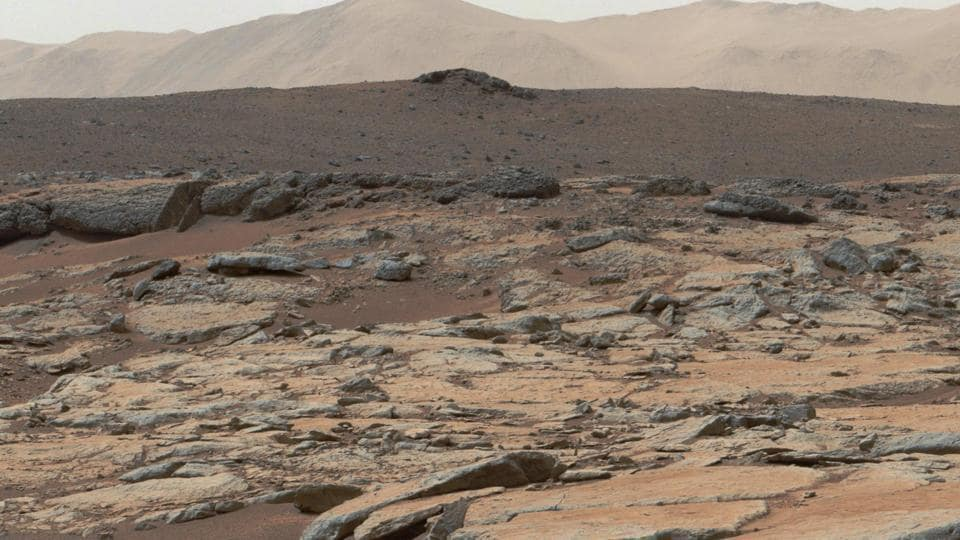 This file photo taken from the Mast Camera (Mastcam) instrument on NASA's Curiosity Mars rover shows a series of sedimentary deposits in the Glenelg area of Gale Crater.