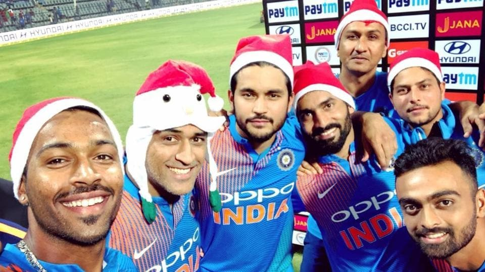 The Indian cricket team celebrated Christmas after a 3-0 whitewash of Sri Lanka in the T20 series on Sunday.