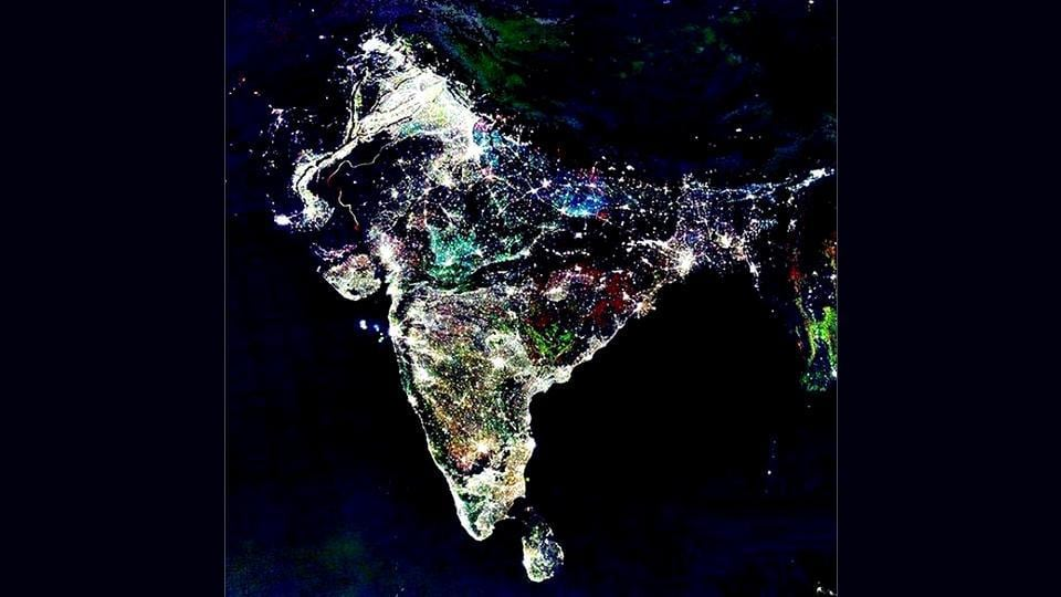 An aerial shot of India posted on the Norad website announcing Santa's arrival in New Delhi.