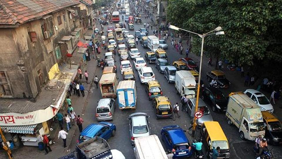 File photo of traffic at Elphinstone. Vehicle owners and beggars have encroached upon footpaths on the Senapati Bapat Marg stretching from Lower Parel to Dadar.